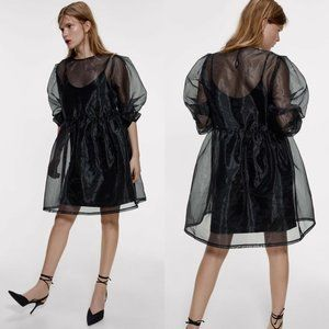 Zara Organza Semi-Sheer Dress Long Sleeves